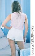Купить «Back view of girl in tight shorts», фото № 29394075, снято 24 июня 2017 г. (c) Яков Филимонов / Фотобанк Лори