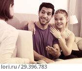 Купить «Young couple with real estate agent at home», фото № 29396783, снято 22 ноября 2018 г. (c) Яков Филимонов / Фотобанк Лори