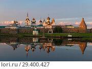 Купить «Вид на Спасо-Преображенский Соловецкий монастырь белой полярной ночью», фото № 29400427, снято 26 июня 2018 г. (c) Pukhov K / Фотобанк Лори
