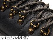 Купить «Detail shot of fragmrnt of new fashionable hiking mountain boot.», фото № 29401087, снято 9 ноября 2018 г. (c) Restyler Viacheslav / Фотобанк Лори