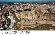 Купить «View from drone of Catalan city of Lleida with medieval Cathedral of St. Mary of La Seu Vella», видеоролик № 29404199, снято 25 июля 2018 г. (c) Яков Филимонов / Фотобанк Лори