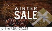Купить «Digitally generated video of winter sale 4k», видеоролик № 29407255, снято 15 декабря 2018 г. (c) Wavebreak Media / Фотобанк Лори