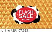 Купить «Digitally generated video of flash sale 4k», видеоролик № 29407323, снято 25 мая 2019 г. (c) Wavebreak Media / Фотобанк Лори