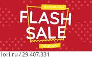 Купить «Digitally generated video of flash sale 4k», видеоролик № 29407331, снято 25 мая 2019 г. (c) Wavebreak Media / Фотобанк Лори