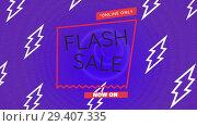 Купить «Digitally generated video of flash sale 4k», видеоролик № 29407335, снято 25 мая 2019 г. (c) Wavebreak Media / Фотобанк Лори