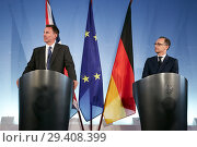 Купить «Berlin, Germany - Federal Foreign Minister Heiko Maas and British Foreign Minister Jeremy Hunt.», фото № 29408399, снято 23 июля 2018 г. (c) Caro Photoagency / Фотобанк Лори
