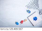 Купить «Background of Jewish holiday Hanukkah. The Religious symbols», фото № 29409567, снято 10 ноября 2018 г. (c) Константин Сенявский / Фотобанк Лори