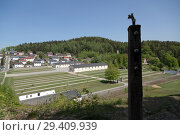 Купить «Bavaria, Germany - concentration camp memorial Flossenbuerg, overview from the height of the camp fence», фото № 29409939, снято 5 мая 2018 г. (c) Caro Photoagency / Фотобанк Лори