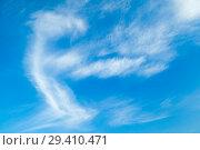 Купить «Natural blue sky with cirrus clouds», фото № 29410471, снято 31 октября 2018 г. (c) EugeneSergeev / Фотобанк Лори