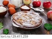 Купить «Яблочный пирог с сахарной пудрой. Домашняя выпечка», фото № 29411259, снято 27 сентября 2018 г. (c) Надежда Мишкова / Фотобанк Лори