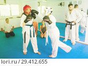 Купить «Women practicing at taekwondo class», фото № 29412655, снято 8 апреля 2017 г. (c) Яков Филимонов / Фотобанк Лори
