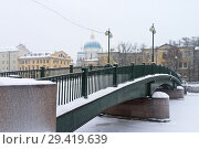 Купить «Saint Petersburg in the winter. Krasnoarmeysky pedestrian bridge across the Fontanka River on a snowy day», фото № 29419639, снято 26 января 2016 г. (c) Виктория Катьянова / Фотобанк Лори