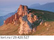 Купить «Rock formations of the Demerdji mountain, Crimea, Russia. Valley of Ghosts, landmark of Crimea», фото № 29420527, снято 23 января 2019 г. (c) Владимир Пойлов / Фотобанк Лори