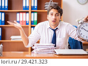 Купить «Young employee working in the office», фото № 29421323, снято 9 августа 2018 г. (c) Elnur / Фотобанк Лори