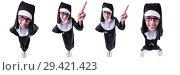 Купить «Funny nun isolated on the white background», фото № 29421423, снято 28 марта 2013 г. (c) Elnur / Фотобанк Лори