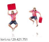 Купить «Tourist with suitcase isolated on white», фото № 29421751, снято 22 ноября 2013 г. (c) Elnur / Фотобанк Лори