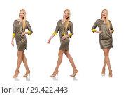 Купить «Blondie in gray satin dress isolated on white», фото № 29422443, снято 17 сентября 2014 г. (c) Elnur / Фотобанк Лори