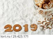 Купить «New Year background 2019», фото № 29423171, снято 5 ноября 2018 г. (c) Мельников Дмитрий / Фотобанк Лори