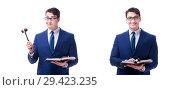 Купить «Lawyer law student with a gavel isolated on white background», фото № 29423235, снято 22 мая 2017 г. (c) Elnur / Фотобанк Лори