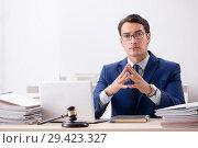 Купить «Young handsome judge working in court», фото № 29423327, снято 31 июля 2018 г. (c) Elnur / Фотобанк Лори