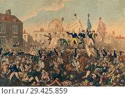 Купить «The Peterloo Massacre. The massacre took place on August 16, 1819 at St Peterâ.s Field, Manchester, England, when the 15th Hussars, a cavalry regiment...», фото № 29425859, снято 11 февраля 2015 г. (c) age Fotostock / Фотобанк Лори