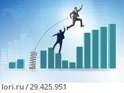 Купить «Businessman outperforming his competition jumping over», фото № 29425951, снято 16 ноября 2018 г. (c) Elnur / Фотобанк Лори