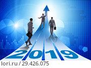 Купить «Businessman running into year of 2019», фото № 29426075, снято 23 мая 2019 г. (c) Elnur / Фотобанк Лори