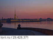 Купить «Peter and Paul Fortress early morning at sunrise», фото № 29428371, снято 15 апреля 2018 г. (c) Юлия Бабкина / Фотобанк Лори