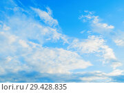 Купить «Blue sky background with white dramatic colorful fluffy clouds and sunlight. Sky landscape», фото № 29428835, снято 27 апреля 2018 г. (c) Зезелина Марина / Фотобанк Лори