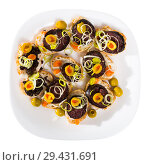 Купить «Tasty canapes with blood sausage, bread, olives and onion at plate», фото № 29431691, снято 16 ноября 2018 г. (c) Яков Филимонов / Фотобанк Лори