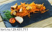 Купить «Slate of freshly fried mushrooms with carrot», фото № 29431711, снято 18 января 2019 г. (c) Яков Филимонов / Фотобанк Лори