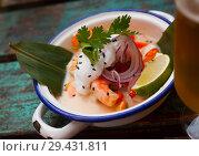 Купить «Ceviche in Vietnamese style with coconut milk», фото № 29431811, снято 22 августа 2019 г. (c) Яков Филимонов / Фотобанк Лори