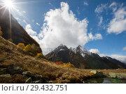 Купить «View of Ine peak and Dzhuguturluchat mountain at autumn», фото № 29432751, снято 14 октября 2017 г. (c) Донцов Евгений Викторович / Фотобанк Лори