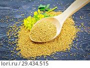 Купить «Семена горчицы в деревянной ложке с цветком на доске», фото № 29434515, снято 26 июня 2017 г. (c) Резеда Костылева / Фотобанк Лори