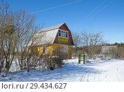 Купить «Дачная улица зимой», эксклюзивное фото № 29434627, снято 24 марта 2018 г. (c) Елена Коромыслова / Фотобанк Лори