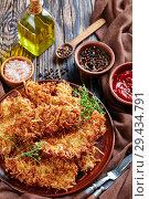 Купить «grated potato breaded pork chops on a plate», фото № 29434791, снято 15 ноября 2018 г. (c) Oksana Zh / Фотобанк Лори