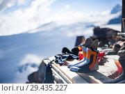 Купить «Drying shoes of climbers after climbing outside», фото № 29435227, снято 6 июля 2015 г. (c) katalinks / Фотобанк Лори