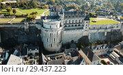Купить «View of Royal castle Chateau de Amboise on river Loire, France», видеоролик № 29437223, снято 25 октября 2018 г. (c) Яков Филимонов / Фотобанк Лори