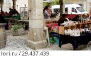 Купить «People selling handicrafts on old stone market in historical center of medieval town Lagrasse, France», видеоролик № 29437439, снято 4 октября 2018 г. (c) Яков Филимонов / Фотобанк Лори