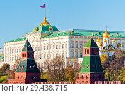 Купить «Вид на здание Большого Кремлевского дворца и церкви Кремля. Солнечный ноябрь. Москва. Россия», фото № 29438715, снято 5 ноября 2018 г. (c) E. O. / Фотобанк Лори