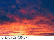 Купить «Мрачное осеннее небо подсвеченное утренней зарей, в качестве фона», фото № 29439371, снято 25 октября 2018 г. (c) Круглов Олег / Фотобанк Лори