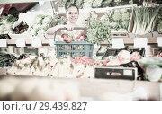 Купить «Woman with basket with fruits and vegetables», фото № 29439827, снято 14 октября 2017 г. (c) Яков Филимонов / Фотобанк Лори