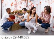 Купить «Young adults in escape room with traces of blood», фото № 29440035, снято 8 октября 2018 г. (c) Яков Филимонов / Фотобанк Лори