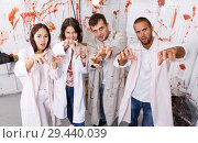 Купить «Friends with outstretched hands like zombies», фото № 29440039, снято 8 октября 2018 г. (c) Яков Филимонов / Фотобанк Лори