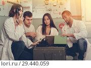 Купить «Young people in lost room-bunker», фото № 29440059, снято 8 октября 2018 г. (c) Яков Филимонов / Фотобанк Лори