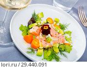 Купить «Ceviche of trout with avocado, cumquat, greens», фото № 29440091, снято 21 октября 2019 г. (c) Яков Филимонов / Фотобанк Лори