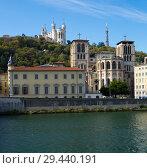 Купить «Cityscape of Lyon, town in France at riverside Saone at sunny day», фото № 29440191, снято 12 октября 2018 г. (c) Яков Филимонов / Фотобанк Лори