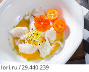 Купить «Ceviche with codfish, avocado sauce», фото № 29440239, снято 22 августа 2019 г. (c) Яков Филимонов / Фотобанк Лори