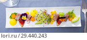 Купить «Tasty roasted tuna with mango and avocado», фото № 29440243, снято 19 декабря 2018 г. (c) Яков Филимонов / Фотобанк Лори