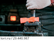 Купить «Workspace of blacksmith. Blacksmith working with red hot metal of new hammer at anvil in a forge. Making the hole», фото № 29440987, снято 13 ноября 2018 г. (c) Константин Шишкин / Фотобанк Лори